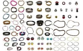 Amazing Mix Of 10,000 Pieces Of Jewellery Bracelets, Earrings, Rings, Body Piercings And More