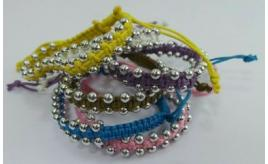 One Off Lot Of 190 Cord & Silver Bead Bracelets Mixed Colours Jewellery