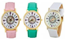 Wholesale Joblot of 10 Womens Faux-Leather Feather Watches 3 Colours