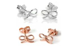 Wholesale Joblot of 50 Jewellery Box Sterling Silver Bow Earrings Rose Gold