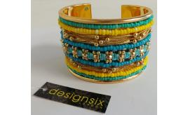 Wholesale Joblot of 30 DesignSix Beaded Cuffs Gold With Multi-Colour Detail 1630