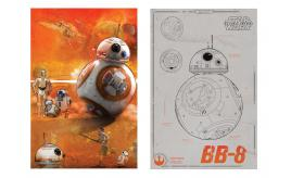 Job Lot of 59x Star Wars Force Awakens BB-8 Full Colour Canvas Picture / BB-8 Tech Drawing 60x90cm
