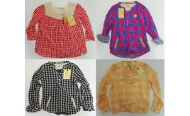 One Off Joblot of 4 Scotch R'Belle Girls Long Sleeve Check Tops 6-9 Years