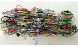 200 Natural & Waxed Cord Surfer, Festival Bracelets Some With Leather Throngs Or Beads