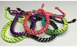 Wholesale Joblot Of 50 Box Link Metal & Fabric Bracelets In 5 Colour Variations