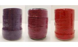 Joblot of 355m of Red, Purple & Pink Braided Real Leather Cords 3mm Wide