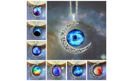 Wholesale Lot Of 30 Space Galaxy Filigree Moon Nebula Cabochon Pendent Necklaces