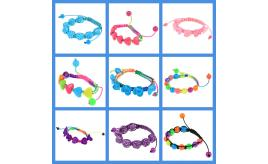Wholesale Lot Of 100 Mixed Heart, Rose, Flower & Round Bead Bracelets