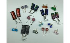 Wholesale Joblot Of 20 Handmade Venetian Glass Earrings Dichroic, Flower & Foil