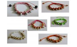 Wholesale Joblot Of 30 Punk Spike Cord Bracelets Mixed Colours Mainly Pink
