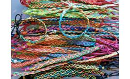 Wholesale joblot Of 100 Mixed Woven Waxed Cotton Nylon Rainbow Surfer Skater Bracelets