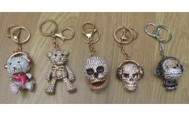 12 x Shimla Crystal encrusted Key / bag chains with moving parts