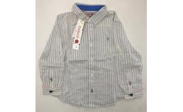 One Off Joblot of 11 Boboli 735353 Boys White/Blue Stripe Shirt Long Sleeve