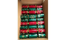 "Pallet of 3000 11"" Budget Green and Red Catering Christmas Crackers"