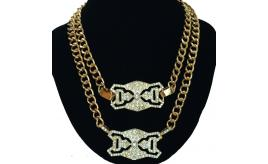 "13pcs Celebrity Inspired Filigree Detail ID Gold Double Chain 18"" w/10mm Necklace - 26TOP"