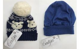One Off Joblot of 9 Catya Young Kids 100% Wool Winter Hats in 2 Styles