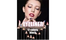 12Pcs Waterproof Eyeliner Pencil Set with Sharpener