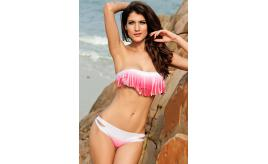 Wholesale Joblot of 10 Pink/White Tassel Bandeau Bikini Set Sizes S-L