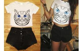 Wholesale Job lot of 100 Ladies Animal Crop Tops Womens Tiger Pug Owl Print