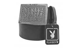 Joblot of 10 Playboy Silver Bunny Buckle Belts Black Unisex PM0109-BLK