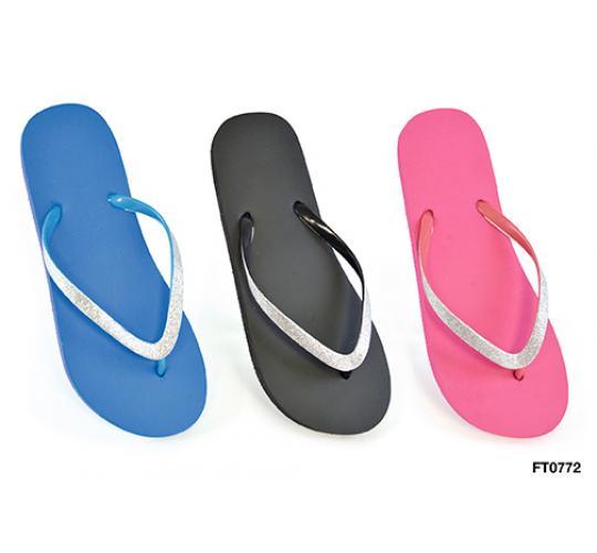 Wholesale job lot of 48 ladies plain coloured flip flops