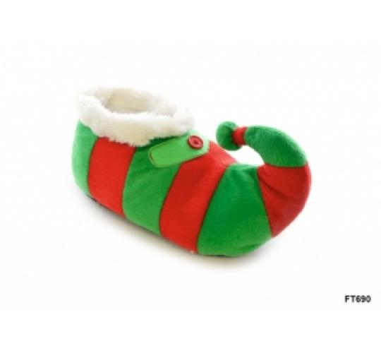 Wholesale Job lot of 24 Kids Novelty Christmas Elf Slippers - FT0690