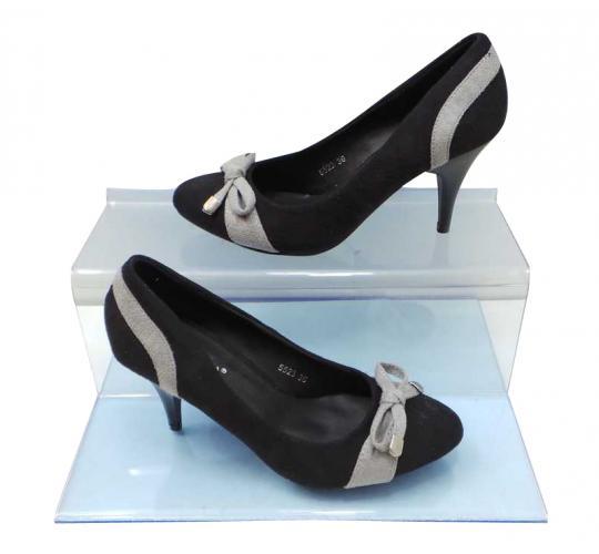 Joblot of 10 Pairs of LA Donna Moda Bow Heels Grey/Black Suede-Feel 5523