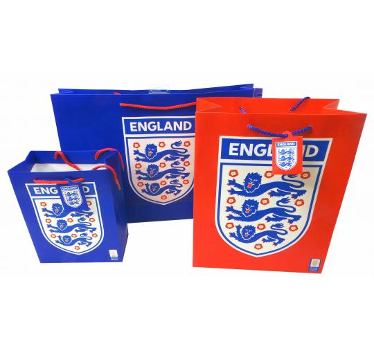 Joblot of 100 Gift Bags England Football Club Themed Paper Various Sizes
