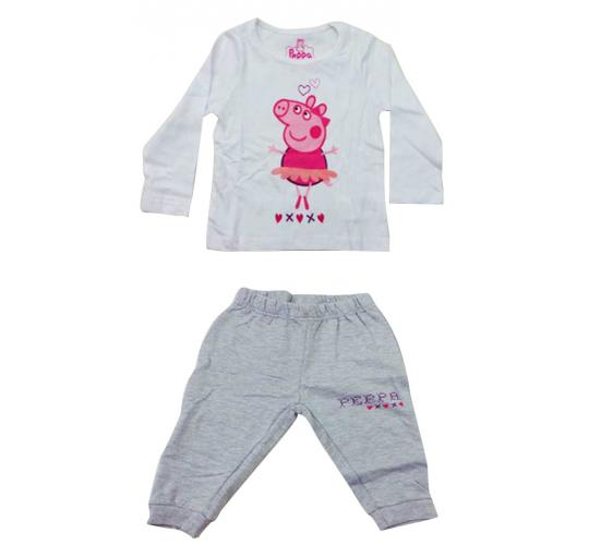 Joblot of 10 Childrens Peppa Pig Pyjama Sets White & Grey Girls Various Sizes