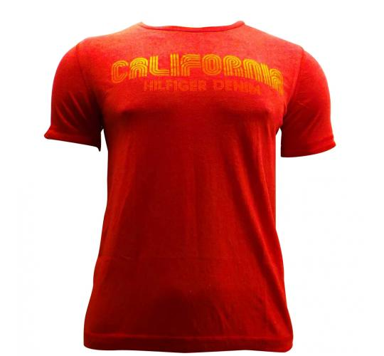 Joblot of 10 Hilfiger Mens T Shirts De-Branded Summer Bright Red 'California'
