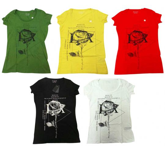 Joblot of 10 Guess Short Sleeved Tops Ladies 5 Colours Rose Design Various Sizes