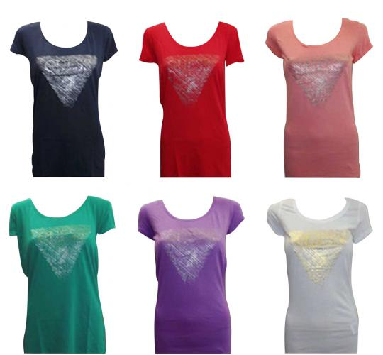 Joblot of 10 Guess T Shirts Ladies 7 Colours Fitted Triangle Motif Various Sizes