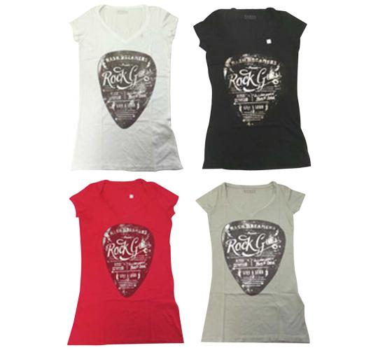 Joblot of 10 Guess Short Sleeved Tops Ladies 4 Colours 'Rock Guess' Slogan