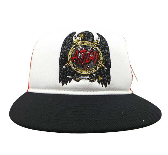 Joblot of 10 Atticus Snapback Hats White/Red/Black Mesh Embroidered AHW7103