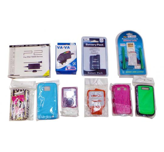 One Off Lot of 6210 Assorted Phone iPod & MP3 Accessories Cases Chargers etc.