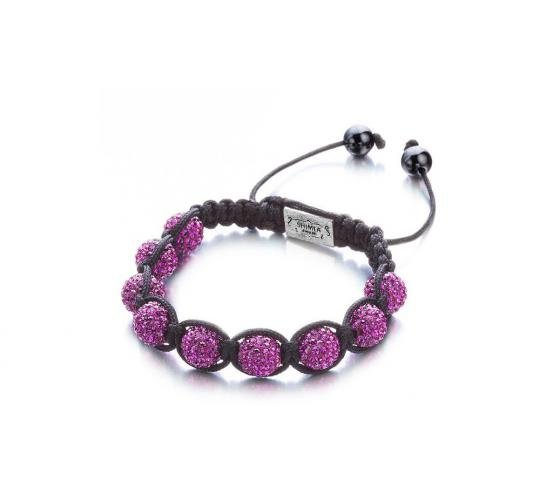Joblot of 10 Shimla Bracelets Fuschia Crystal Set 'Fireball' Beads SH035SRH
