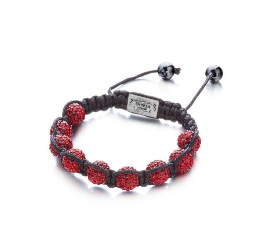 Joblot of 10 Shimla Bracelets Deep Red Crystal Set 'Fireball' Beads SH014SRH