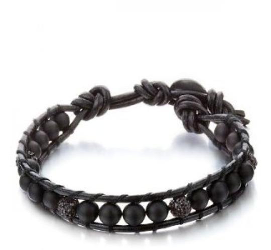 Joblot of 10 Shimla Bracelets Matt Onyx & Black Crystal 'Fireball' Beads SH062