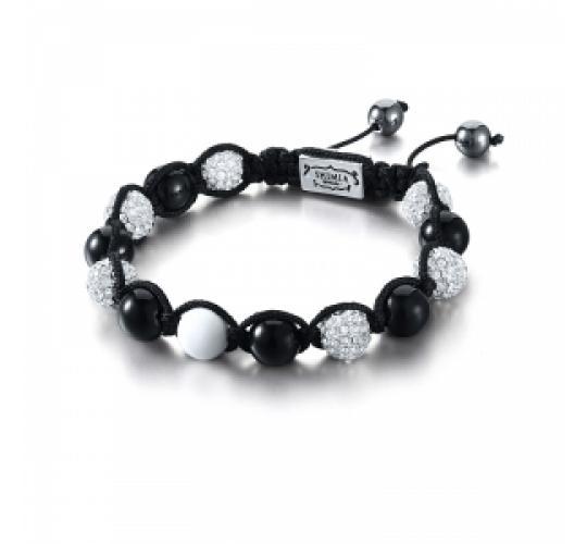 Joblot of 10 Shimla Bracelets Black & White Crystal 'Fireball' Beads SH010