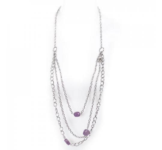 VIS Moment, Zagora - 29x Amethyst Natural Crystal Chain Necklace RRP-£1283
