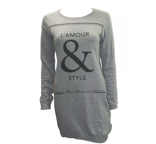 Joblot of 20 Jumpers Womens Grey 'L'Amour & Style' Slogan Thin Material