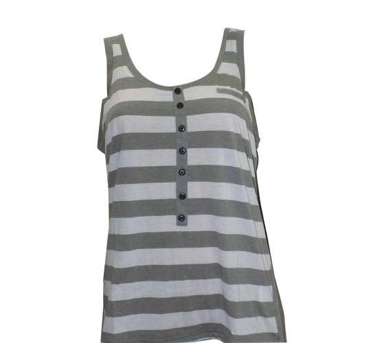 Joblot of 10 Atticus Vest Tops Ladies 'Speed Heart Tank' Grey & White Stripe