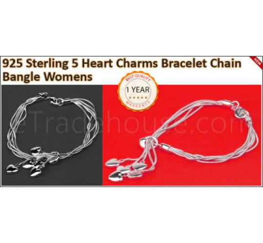 925 Sterling Silver 5 Heart Charms Bracelet Chain Bangle Womens