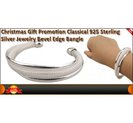 Christmas Gift Promotion Classical 925 Sterling Silver Jewellery Bevel Edge Bang