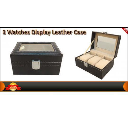 PU Leather Box 3 Grid Slots Watch Jewellery Display Storage Organizer Case