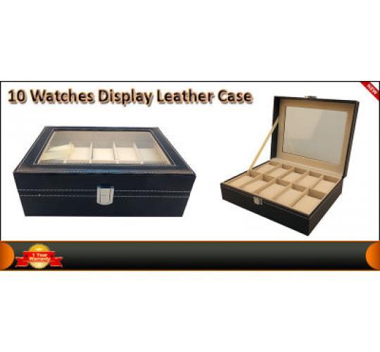 PU Leather Box 10 Grid Slots Watch Jewellery Display Storage Organizer Case