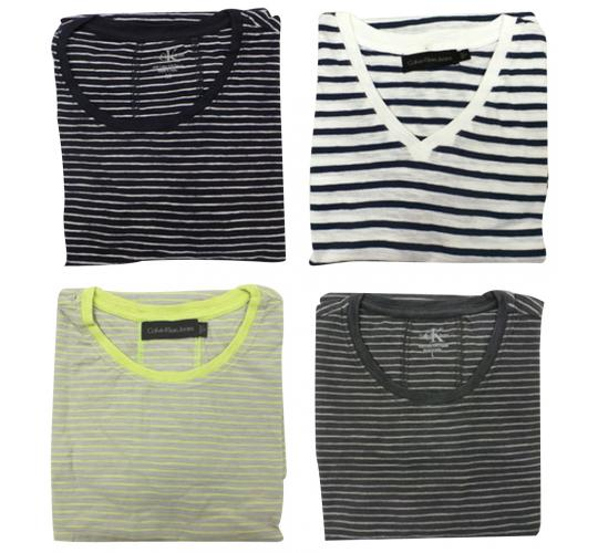 One Off Lot of 11 Calvin Klein T Shirts Mens Striped 4 Colours Various Sizes