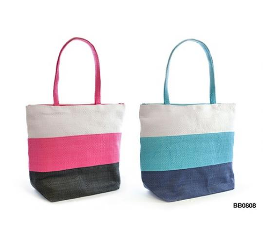 Job Lot of 48 3 Coloured block striped beach/tote bag -BB0808