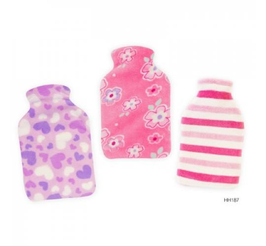 Wholesale parcel of 36 Large Hot Water Bottles with mixed fleece cover- HH0187