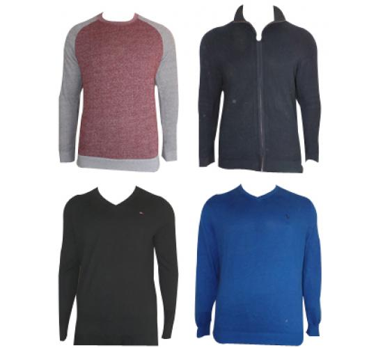 One Off Lot of 10 Assorted Branded Mens Jumpers & Zip-Up Jackets Various Sizes